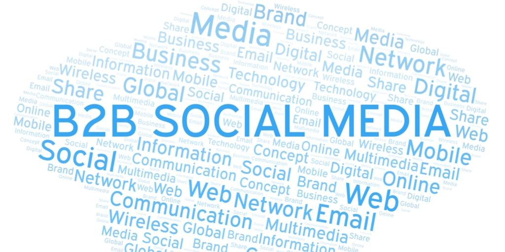 Word cloud featuring B2B social media.