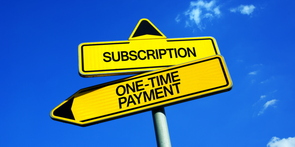 Yellow street sign with subscription in one direction and one-time payment in the other.
