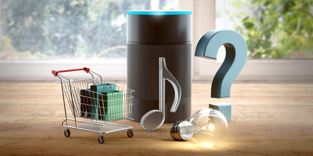 Voice-activated AI represented by smart speaker with music note, light bulb, question mark, and shopping cart.