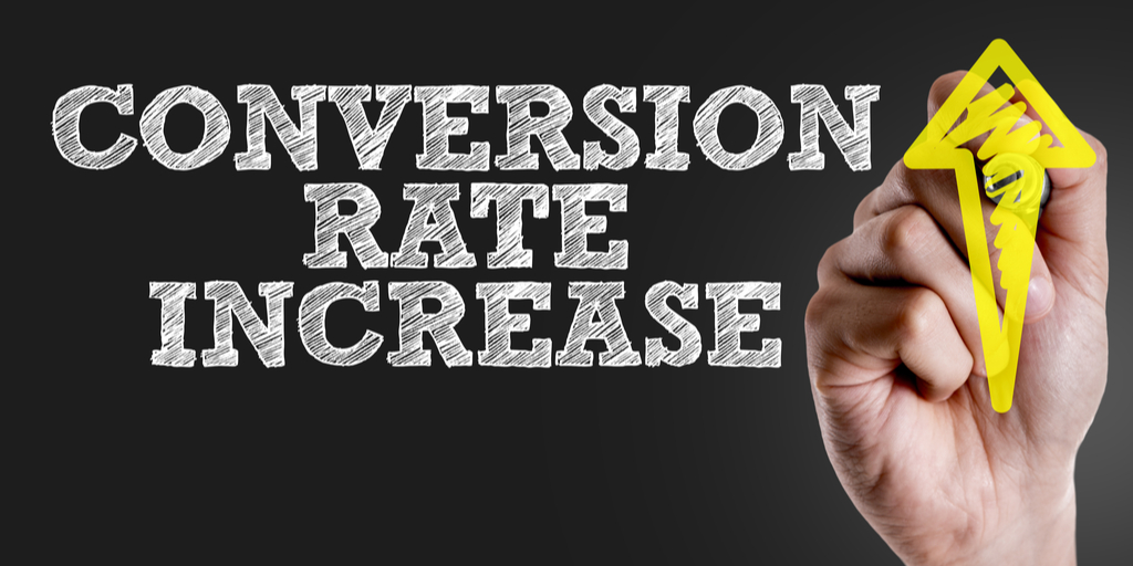 Conversion rate increase concept, with the goal to convert visitors into customers.