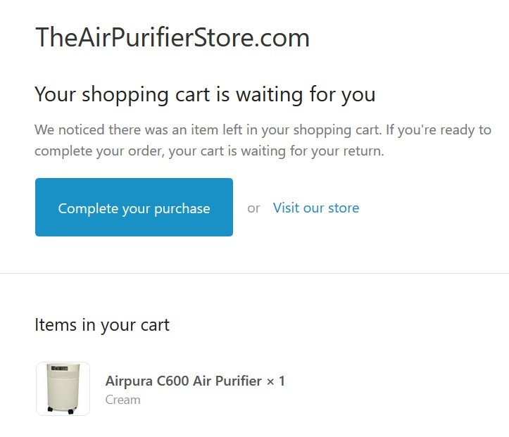 Cart abandonment email from TheAirPurifierStore.com.