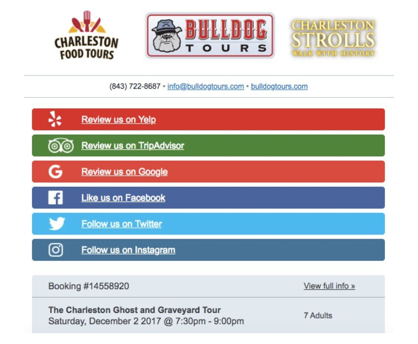 Example of review request from Bulldog Tours.