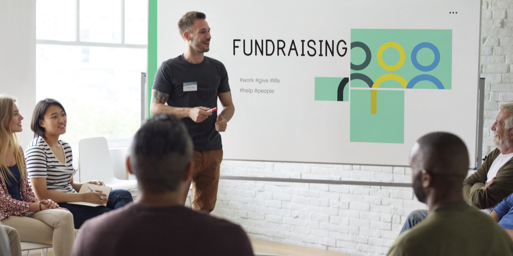 Man giving fundraising presentation for nonprofit.