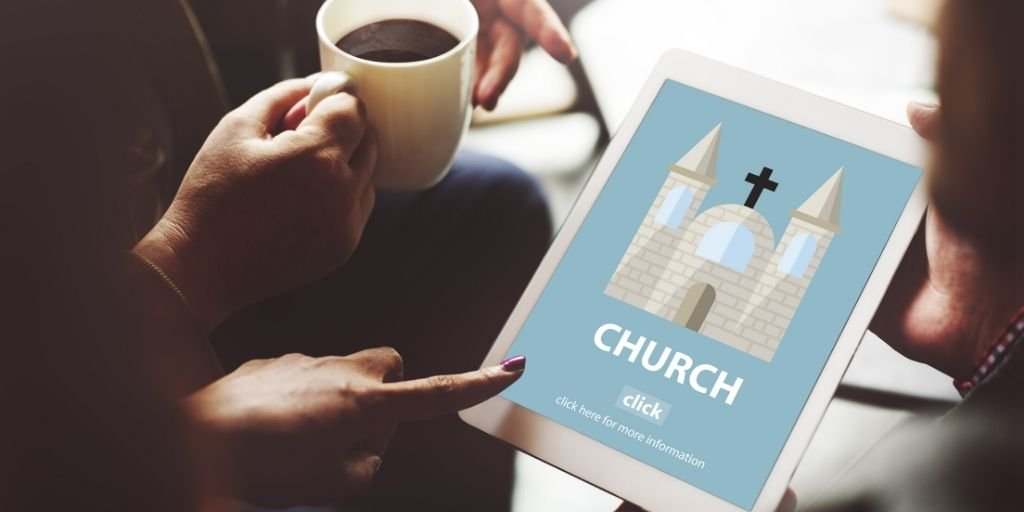 Church website featured on tablet, important element of church marketing.
