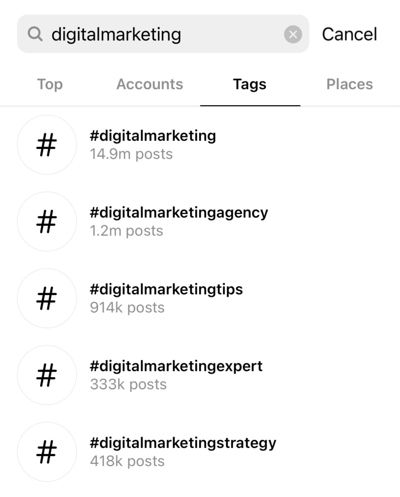 list of hashtags from Instagram relevant to digital marketing