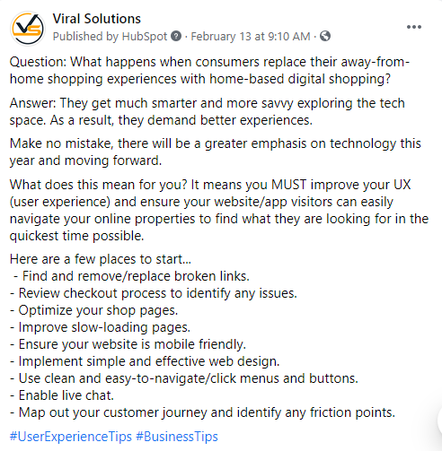 Microblog example from Viral Solutions featuring Facebook post on technology in user experience.