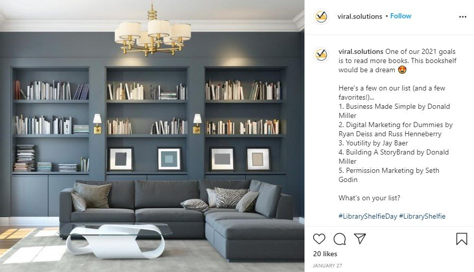Microblog example from Viral Solutions featuring three built-in bookcases in a beautiful gray living room.