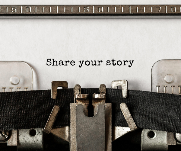 """typewriter typing """"Share your story"""""""