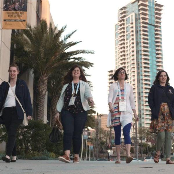 VS employees walking downtown