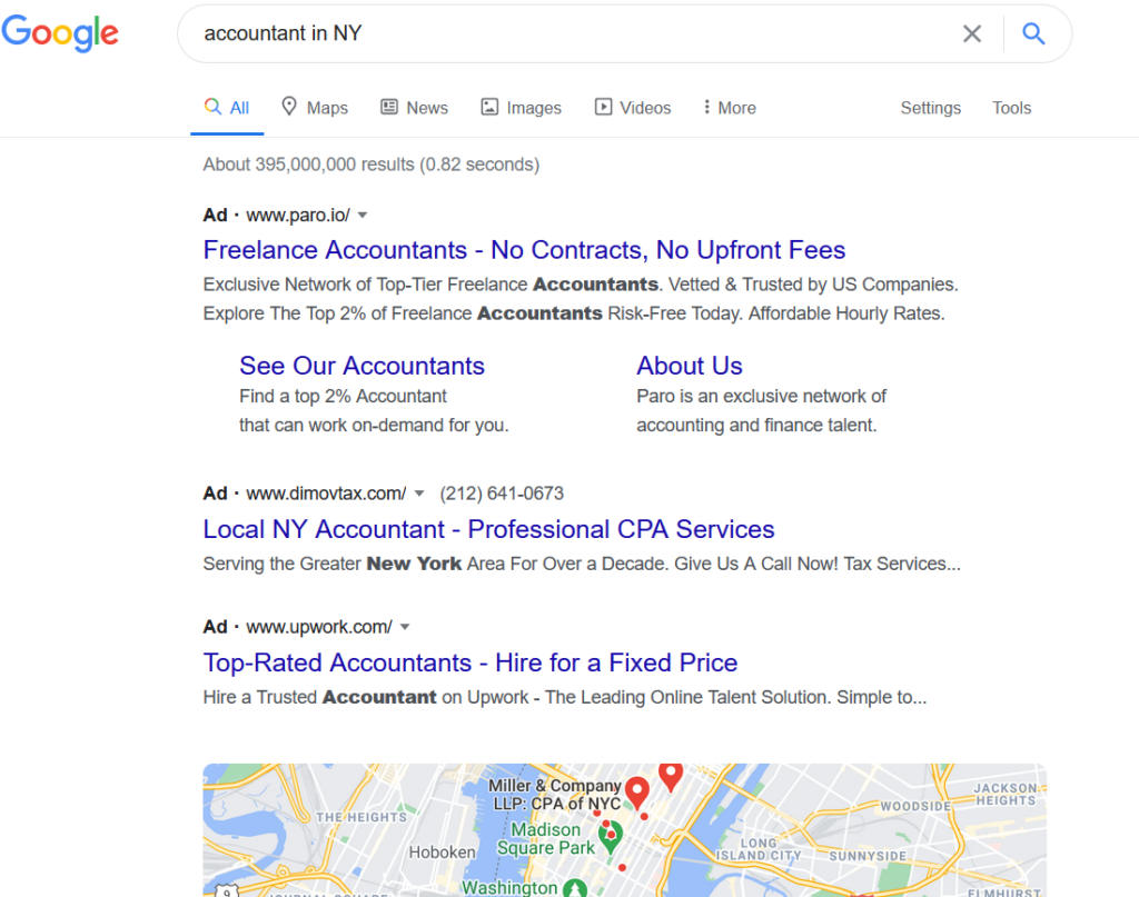 Google search results for the term accountant in NY