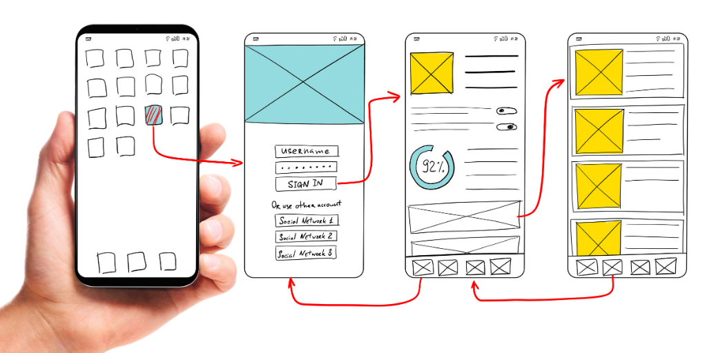 Hand holding mobile device next to floating sketches of site mockup on mobile.