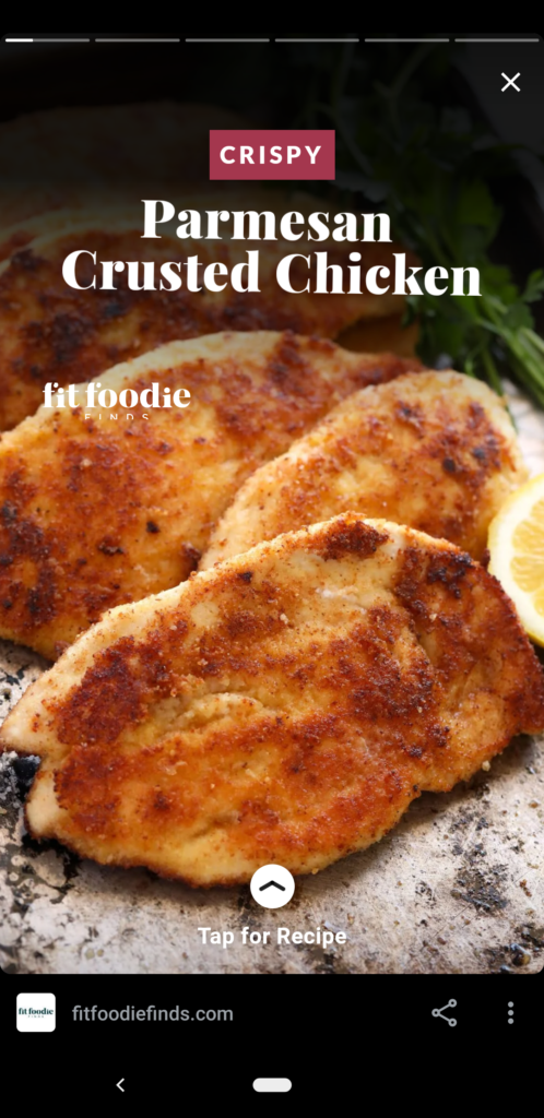 Title card of Web Story for crispy parmesan chicken.