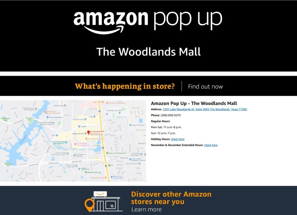 Map of Amazon pop-up shop at The Woodlands Mall in Texas.