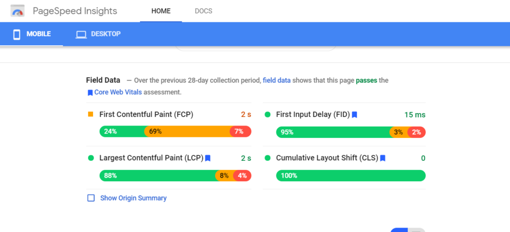 Color-coded bars scores for Largest Contentful Paint, First Input Delay, and Cumulative Layout Shift. 75% each to pass.