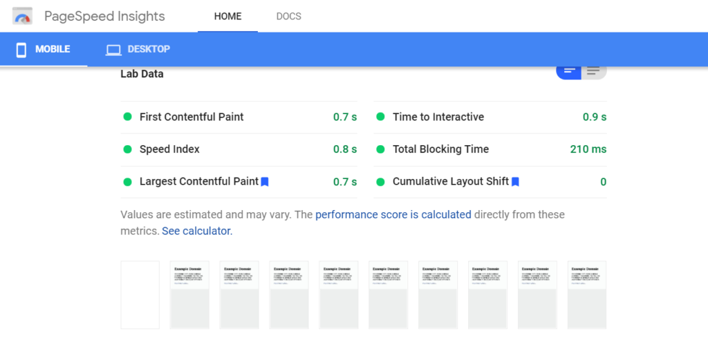 PageSpeed Insights lists lab data results for mobile devices and computers, recommendations, and time each delay costs.